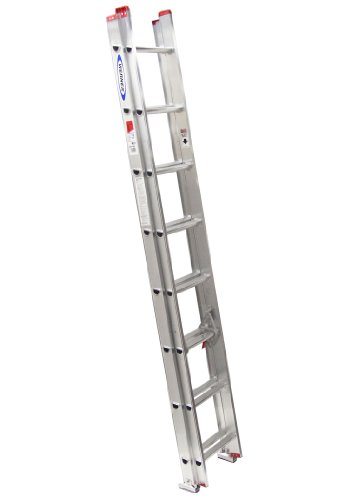 Werner D1116-2 200-Pound Duty Rating Aluminum Flat D-Rung Extension Ladder, 16-Foot