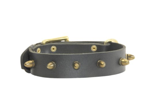 Dean & Tyler The Bullet Leather Collar for Dogs, 34 to 38-Inch by 1-1/2-Inch, Black
