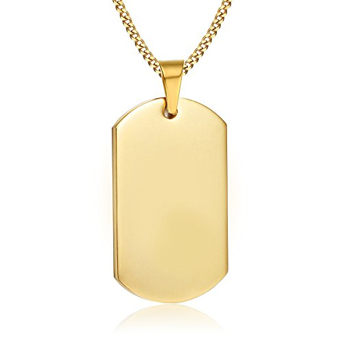 VNOX Personalized Custom Gold Plated Stainless Steel Dog Tag Military Army Pendant Necklace for Men Women,Horizontal