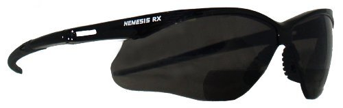 Jackson Safety 22518 V60 Nemesis RX Reader Safety Glasses, Smoke Lenses with +2.0 Diopters, Black Frame (Pack of 6) by Jackson Safety