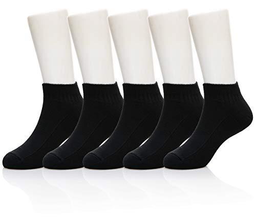 Eocom 5 Pack kids Girls boys Low Cut Cotton Soft Cartoon Cute Breathable Socks (5 Pairs Black, 6-8 Years) (Socks Soft Black)