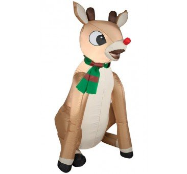 Gemmy Airblown Rudolph Red Nose with Scarf -