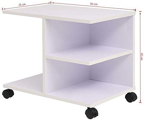 Festnight Estantería Estante de Almacenamiento y Organización Librería con 4 Ruedas de Plástico 50x35x42cm Blanca: Amazon.es: Hogar