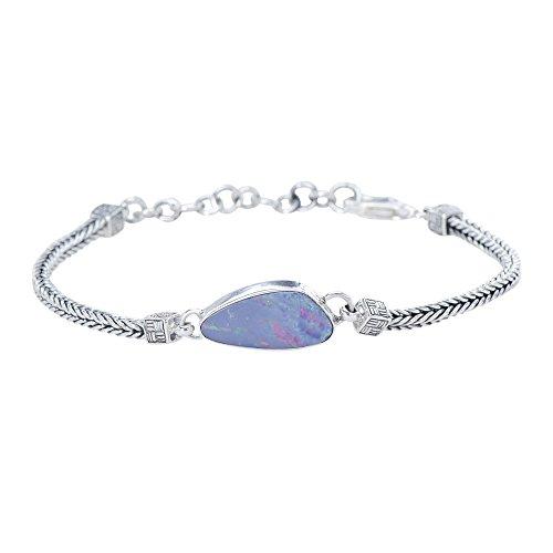 Caroline Collection Exquisite Fire Opal Australian Doublet 925 Sterling Silver Woven Chain Bracelet