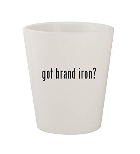 (got brand iron? - Ceramic White 1.5oz Shot Glass)