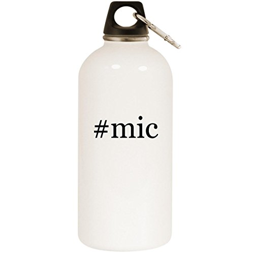 #mic - White Hashtag 20oz Stainless Steel Water Bottle with Carabiner ()