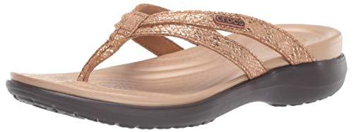 Crocs Women's Capri Strappy Flip Flop, Bronze/Espresso, 5 M US
