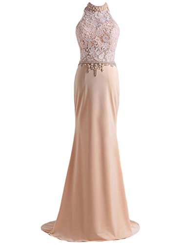 M Bridal Women's Beaded Pearls Illusion High Neck Long Mermaid Formal Prom Dress Champagne Size 10