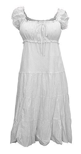 eVogues Plus Size White Cotton Empire Waist SunDress - 3X