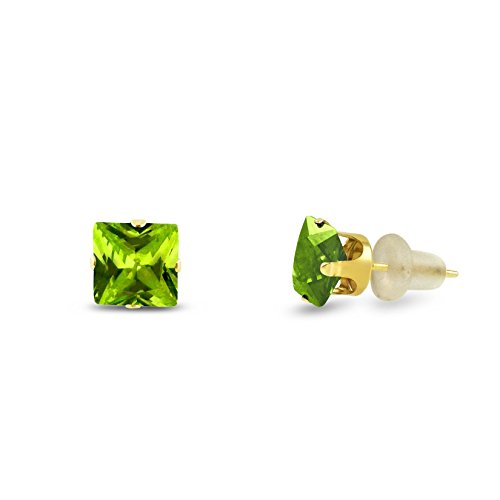 6x6mm Square Princess Cut Green Peridot CZ Solid 10K Yellow Gold 4-Prong Set Stud Earrings