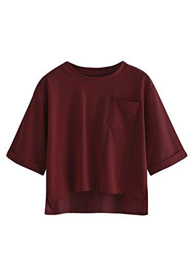 Burgundy Pocket Tee (SweatyRocks Women's Casual 3/4 Roll Sleeve T-Shirt Tops with Chest Pocket Burgundy L)