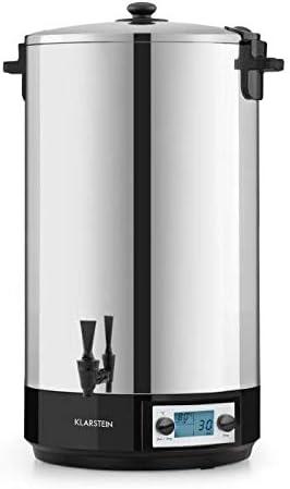 Klarstein KonfiStar 60 Digital - Olla para hacer mermeladas, caldera de cocción, termo para bebidas, 60 litros, 2500 W, 30-100 °C, programable, conserva el calor, tapa con cierre, acero inoxidable