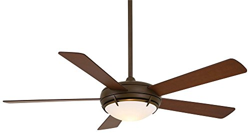 """Minka Aire F603-ORB Como - 54"""" Ceiling Fan with Light Kit, Oil Rubbed Bronze Finish with Tobacco Blade Finish with Satin White Opal Glass"""