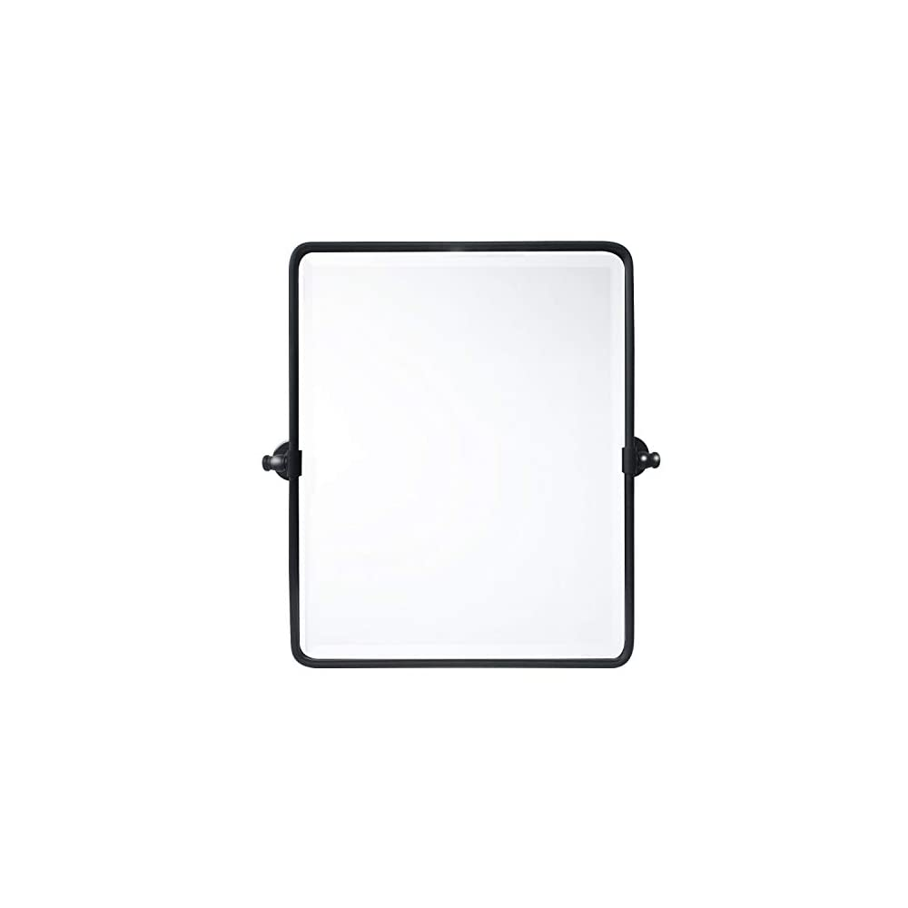20 x 24 '' Farmhouse Black Metal Framed Pivot Rectangle Bathroom Mirror Rounded Rectangluar Tilting Beveled Vanity…
