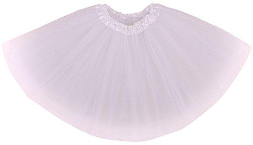 AshopZ Women Classic Elastic 3 Layered Ballet Tulle Tutu Skirt, White]()