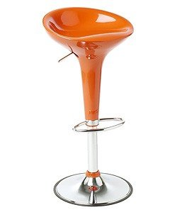 Pair Of Orange Modern Adjustable Counter Swivel Bombo Pub