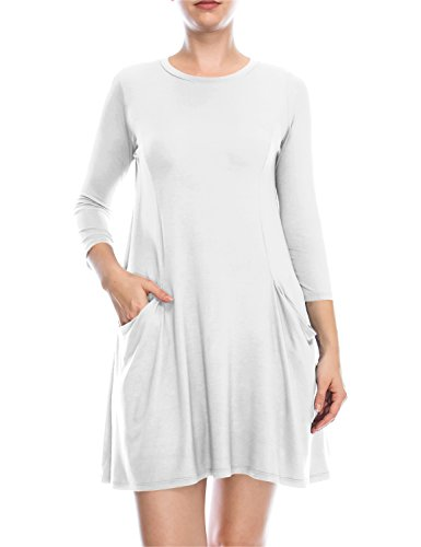 ALL FOR YOU Women's 3/4 Sleeve Front Pockets Round Neck Casual Flowy Dress