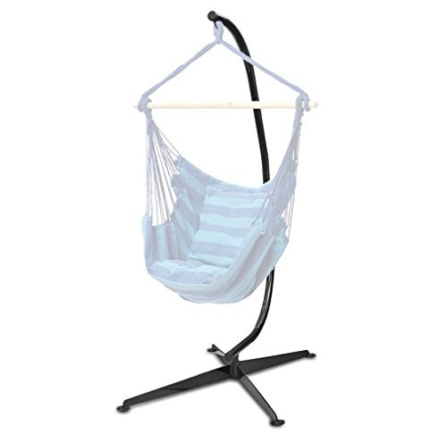 Flexzion Hammock C Stand (Black) - Solid Steel Construction C Shape For Air Porch Swing Any Hanging Chair Ideal for Oudoor and Indoor Bedroom Weight Capacity 300 ()