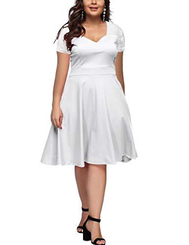 FeelinGirl Women's V-Neck Stitching Lace Plus Size Short Sleeve Dress XL (Long Sleeve Fit And Flare Wedding Dress)