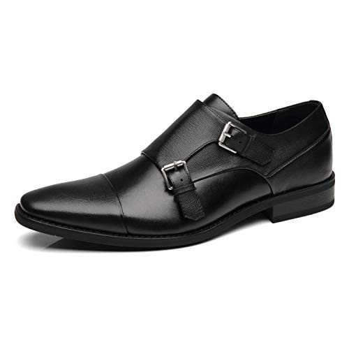 NXT NEW YORK Mens Double Monk Strap Shoe Cap Toe Buckle Slip On Loafer Leather Comfortable Formal Business Dress Shoe for Men