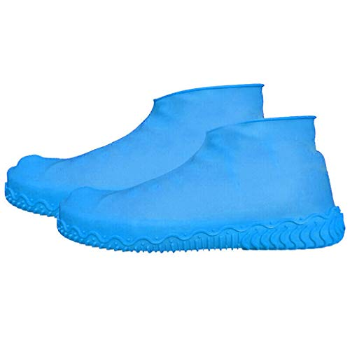 (Sodoop Newest Silicone Shoe Covers, Waterproof Anti Slip Rainy Rainshoes Rain Boots Cover, Washable Reusable Overshoes for Outdoor Cycling Camping Fishing Garden, Kids Ladies Men (Sky Blue, M))