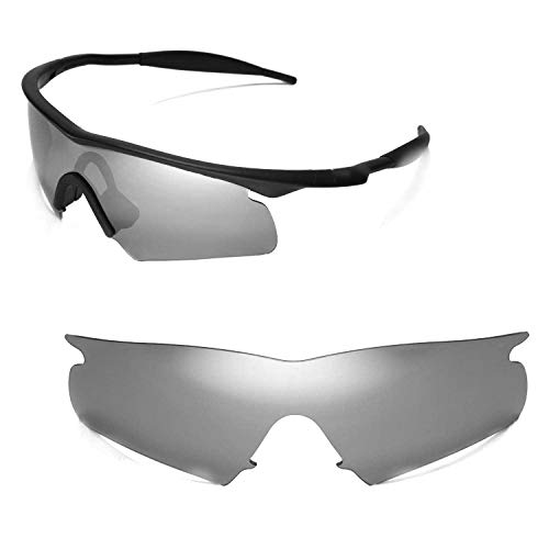 (Walleva Replacement Lenses for Oakley M Frame Hybrid Sunglasses - Multiple Options Available (Titanium Mirror Coated - Polarized))