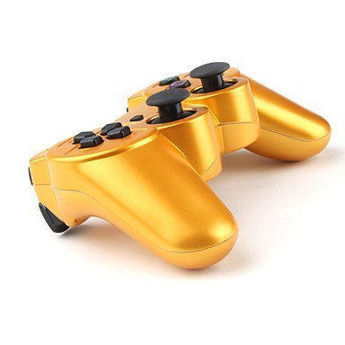 Gold Donop/® Gaming pad joysticks include Donop Black silicone wristband for Sony PlayStation 3 Double Shock PS3 Wireless Bluetooth Controllers