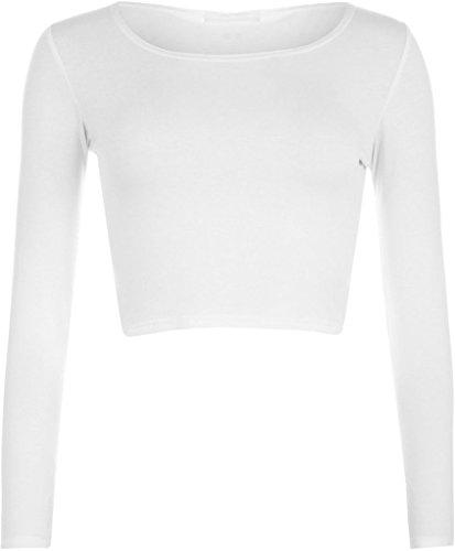 MKL Fashions - Camiseta de manga larga - para mujer crema