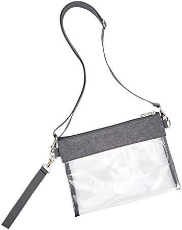 Clear Crossbody Purse Bag - Stadium Approved Clear Tote Bag with Adjustable Shoulder Strap (Grey)