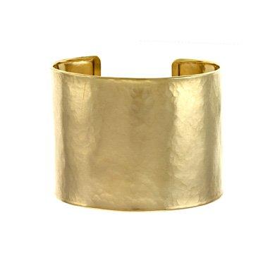 Or jaune 14 carats 47 mm texturé en forme de menotte JewelryWeb 7 cm