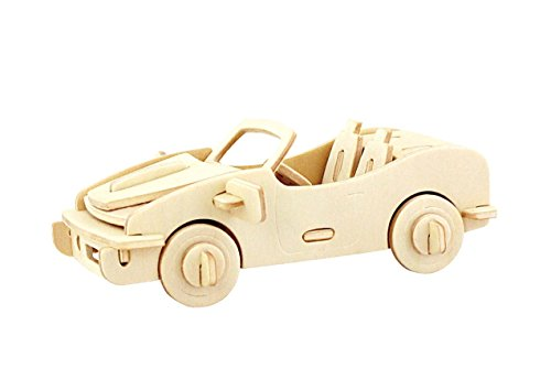 (PONTE COLLECTION Wooden Model Kits 3D Puzzles Build Car Kit Wooden Model Toy Kit Wood Puzzle Car Wooden Model Toy Kit Model Car 29-pcs (Racing Car))