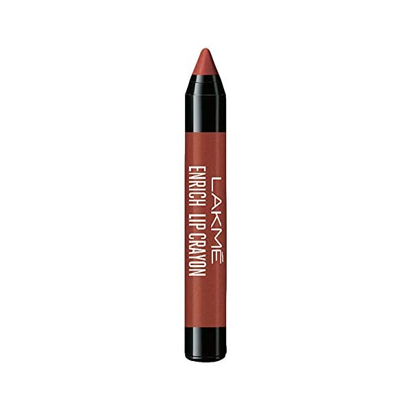 Lakmé Enrich Lip Crayon, Cinnamon Brown, 2.2g 2021 July Sketch your lips, and make them your canvas with the new Enrich Lip Crayons A newly formulated lip color crayon, for a soft texture and smooth matte finish Enriched with a highly pigmented formula, it delivers an intense color payoff