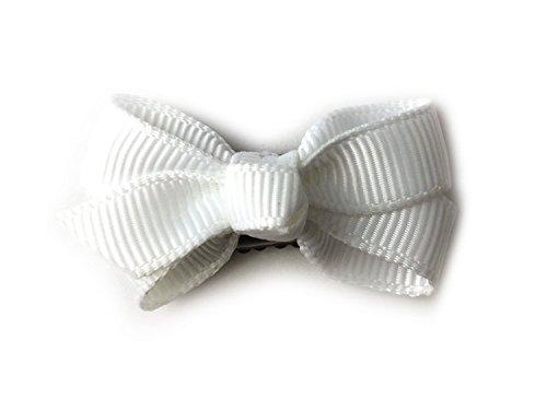 Baby Wisp Infant Mini Latch Clip Grosgrain Boutique Hair Bows Baby Girls Newborn (White)