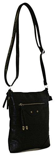 Neu Damen/Damen Schwarz Schultertasche Taschen Mit Reißverschluss Zu Dem Oberteil Schwarz - UK GRÖßEN 1-1