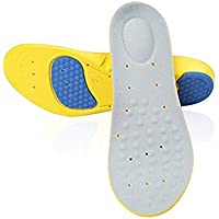 L Euro Size 42 to 44 : Flexible Cushioning Sports Insoles Women or Men Shoes Pad Gel Orthopedic Absorb Sweat Breathable Deodorant Military Insoles