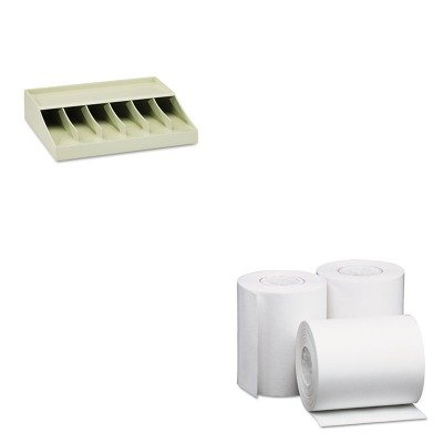 KITMMF210470089UNV35760 - Value Kit - Universal Single-Ply Thermal Paper Rolls (UNV35760) and MMF Bill Strap Rack (MMF210470089)