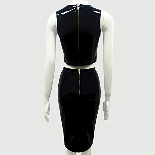 Camisa Cuero Black Falda Gyan Mujer Top Sexy Pu Verano Y Nocturno Conjunto Club Camisola qqPtFawx