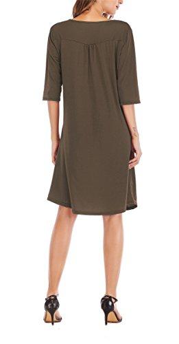 T Womens V Dress 4 3 JoYang Shirt Casual Placket Neck Ruched Brown Sleeve zI1dwS