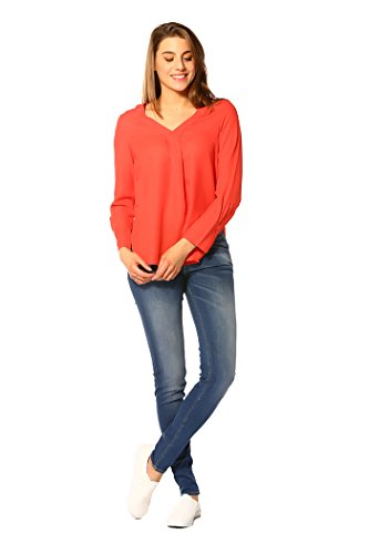 Vero Moda - PUNK L/S VNECK TOP_POPPY RED - Femme