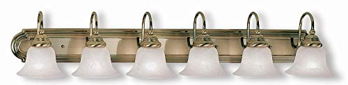 Livex Lighting 1006-01 Belmont - Six Light Bath Bar, Antique Brass Finish with White Alabaster Glass