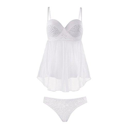 Camisón para mujer más el tamaño de la ropa interior con sujetador vestido de novia camisón blanco sueño bandeja de acero con el pecho del cojín honda falda ...