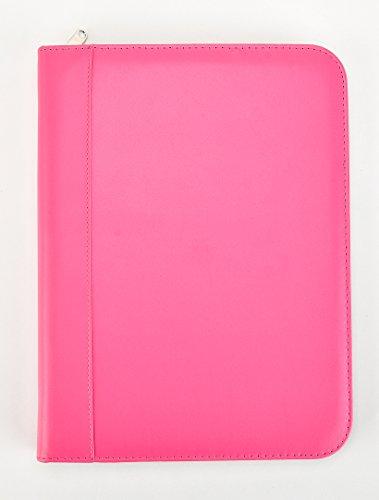 Arpan Ringbinder Folio with Zipper & Calculator Portfolio Folder Case - Pink (Pink Zipper Portfolio)