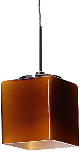 Lighting by AFX GEPLAMSN Geo 5-1.3 Watt LED Pendant, Satin Nickel with Amber - Geo Pendant Nickel