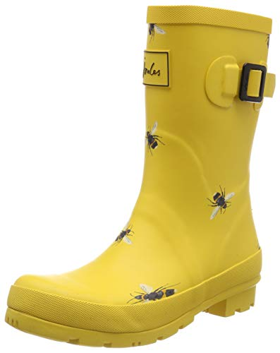 Bee Accessory - Joules Women's Molly Mid Height Rain Boots Gold Botanical Bee Size 9