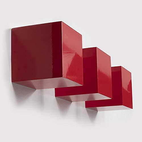Decorativos Pared Cuadrado Cubos práctica oficina decoración flotante bloque estanterías Conjunto de 3de color rojo