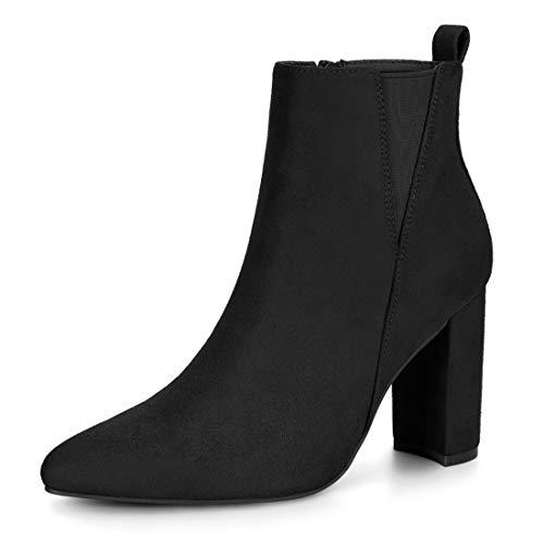 Allegra K Women's Pointed Toe Zipper Block Heel Black Ankle Boots - 7 M US -