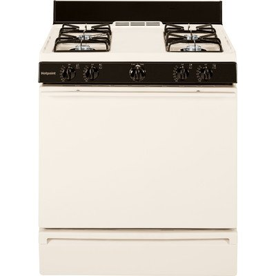 White Freestanding Gas Range (Hotpoint RGB508PEFCT 30 In. 4.8 Cu. Ft. Free-Standing Gas Range, Bisque)