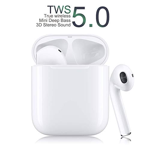 Wireless Earbuds Bluetooth 5.0 Headphones with 24Hrs Fast Charging Case 3D Stereo Headphones in-Ear Headset Built-in Mic, Pop-ups Auto Pairing Headphones for Work/Running/Travel/Gym