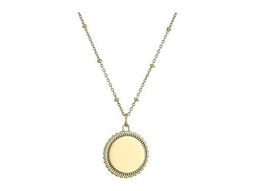 Fossil Women's Scalloped Disc Gold-Tone Stainless Steel Necklace (Fossil Round Pendant)
