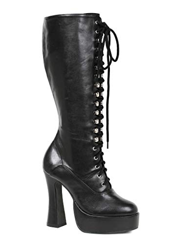 Price comparison product image Ellie Shoes E-Easy Lace Up Knee Boots with 5 Inch heel 8 Black PU